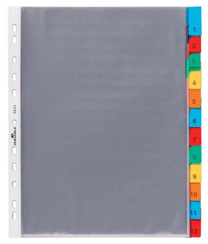 Разделитель индексный Durable 663319 A4 пластик 12 индексов с карманами цветные разделы