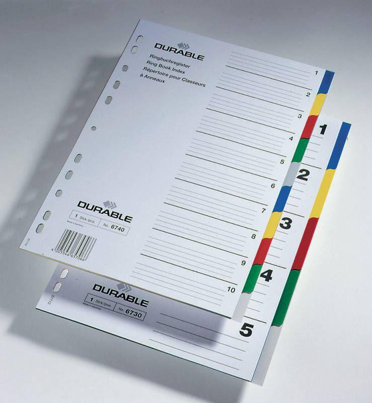 Разделитель индексный Durable 674027 A4 пластик цветные разделы