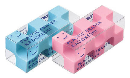 Ластик Kokuyo KESHI -U750 многогранный голубой/розовый (2шт)