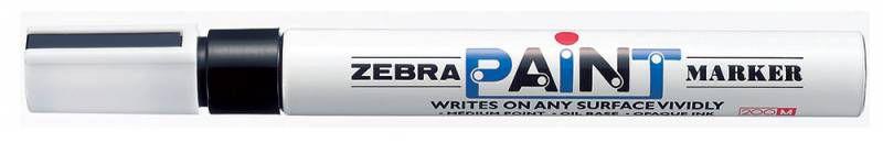 Маркер перманентный Zebra PAINT MOP-200MZ-BK круглый пиш. наконечник (толщина линии 1.5мм) черный