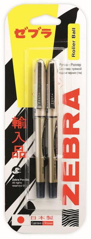 Ручка-роллер Zebra ZEB-ROLLER BE& DX7 0.7мм игловидный пиш. наконечник черный/черный блистер (2шт)