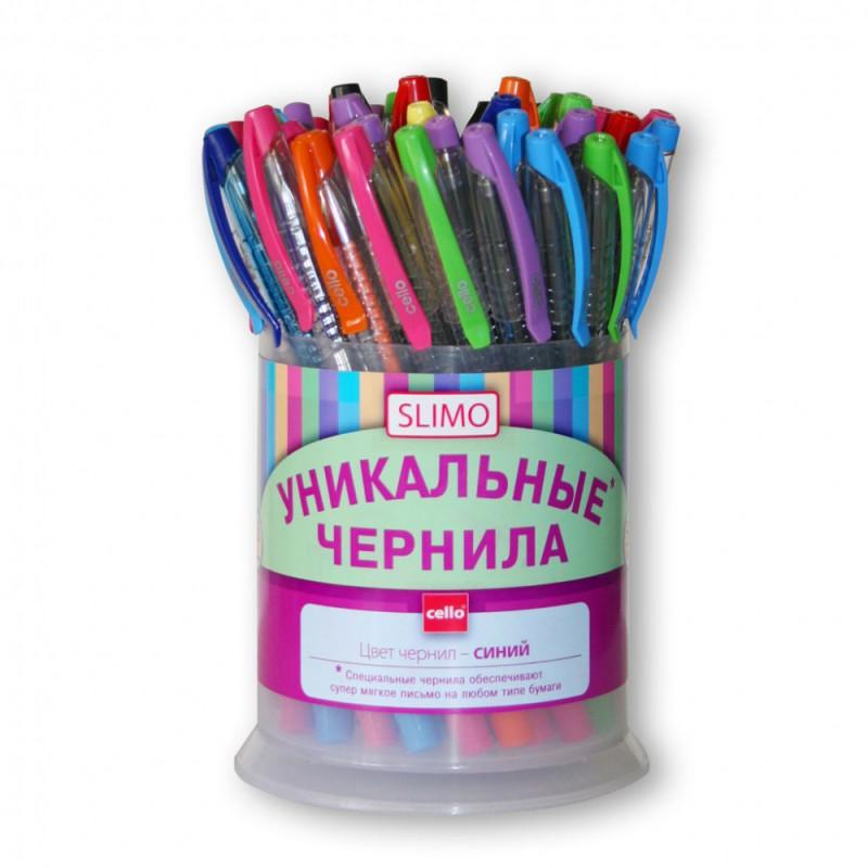Ручка шариковая Cello SLIMO 0.7мм игловидный пиш. наконечник ассорти синие чернила пластик.стакан