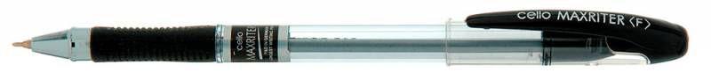 Ручка шариковая Cello MAXRITER 0.6мм резин. манжета черный индив. пакет с европодвесом