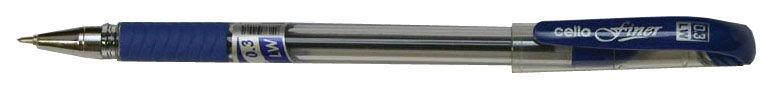 Ручка шариковая Cello FINER 0.3мм резин. манжета синий индив. пакет с европодвесом