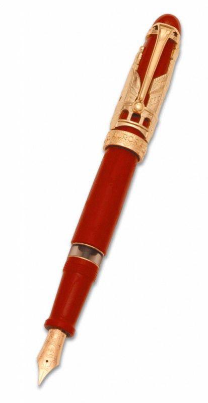 Ручка перьевая Aurora Firenze терракот гравировка оклад серебро 925пр позолота перо 18ктF (AU-800/VF