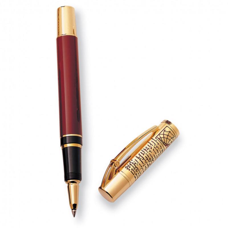 Ручка роллер Aurora Leonardo da Vinci корпус смола бордо колпачок позолота гравировка [978]