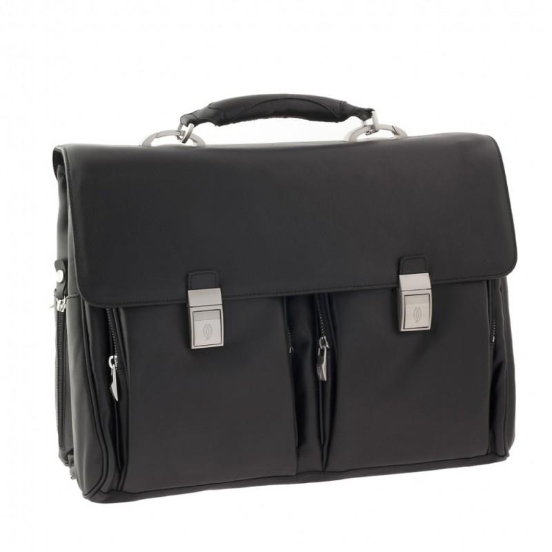 Портфель Tuscans три отделения 2 кармана 42x32x20см черный натур кожа (TS-078-138)