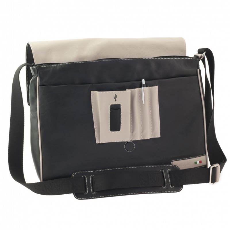 Сумка-планшет Tuscans 40x30x12см черный натур кожа отд серая с отд для Ipad (TS-20004-029)