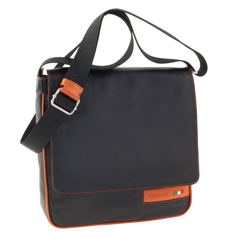 Сумка-планшет Tuscans 27x28x8см черный натур кожа отд оранжевая с отд для Ipad (TS-20005-087)