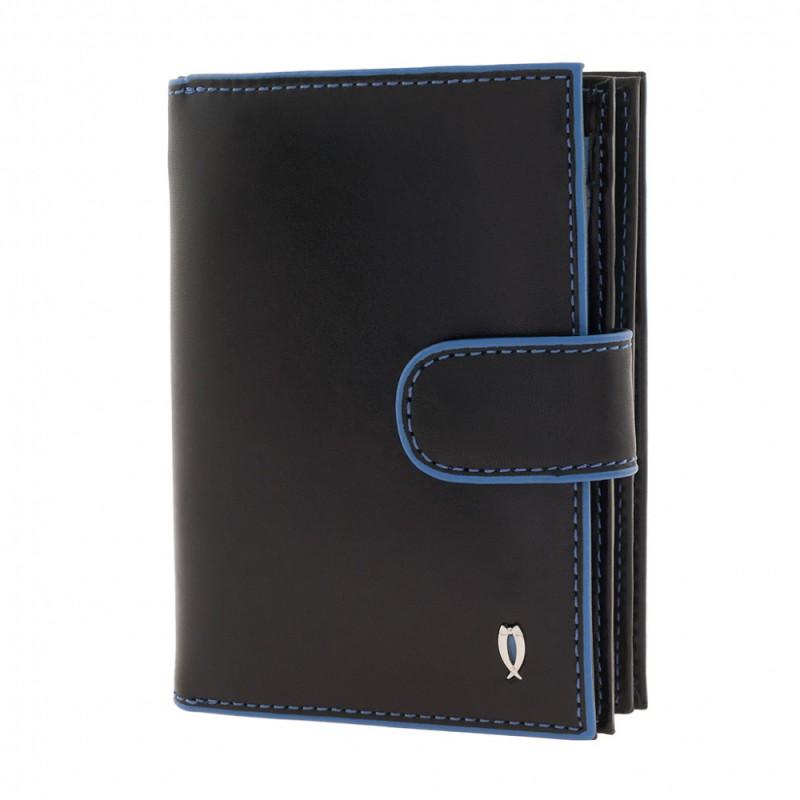Кошелек Tuscans (938-086) черный/голубой натуральная кожа 6 отделений для карт