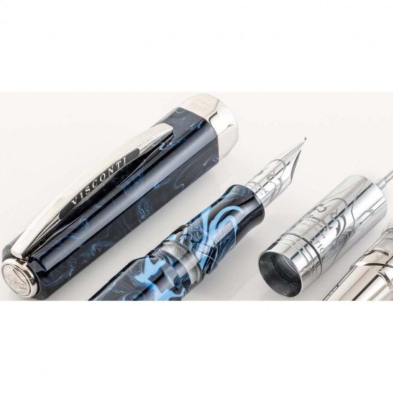 Ручка перьевая Visconti Опера Демо Тайфун корпус синяя смола перо хром 18 снорк в компл (VS-651-18M) [65118m]