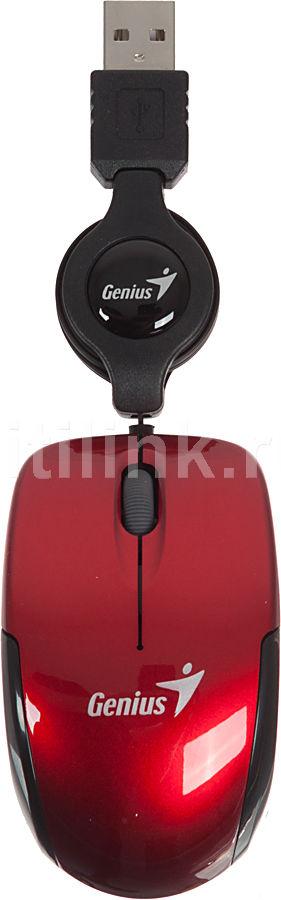 Мышь GENIUS Micro Traveler R оптическая проводная USB, красный и черный [31010100103]