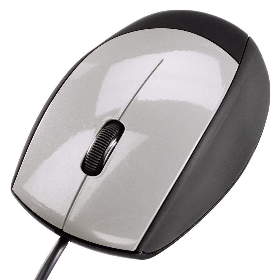 Мышь HAMA H-52388, оптическая, проводная, USB, черный и серебристый [00052388]