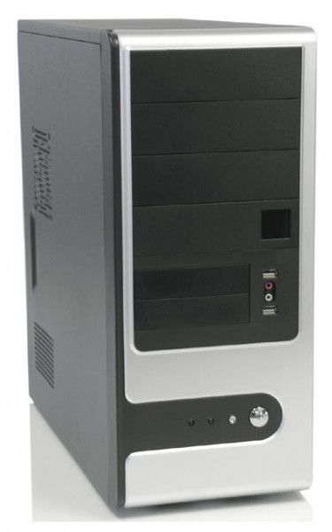 Корпус ATX FOXCONN TSAA-909, 350Вт,  черный и серебристый