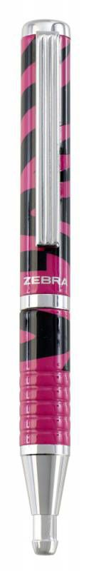 Ручка шариковая Zebra SLIDE DESIGN авт. телескопич.корпус полоса роз/черн синие чернила коробка пода
