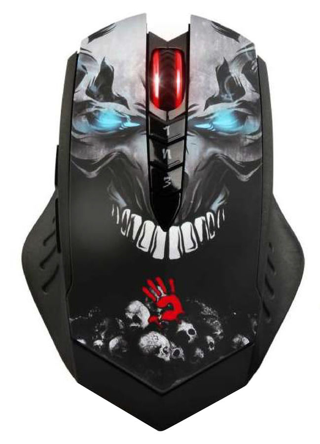 Мышь A4 Bloody R8 metal feet Skull design оптическая беспроводная USB, черный [r8 skull]