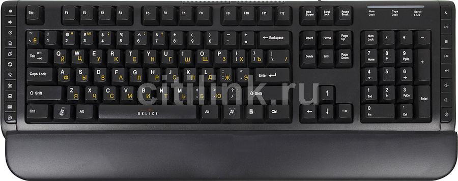 Клавиатура OKLICK 400M,  USB, c подставкой для запястий, черный