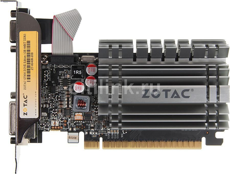 Видеокарта ZOTAC GeForce GT 630 ZONE Edition,  ZT-60408-20B,  1Гб, DDR3, Low Profile,  oem