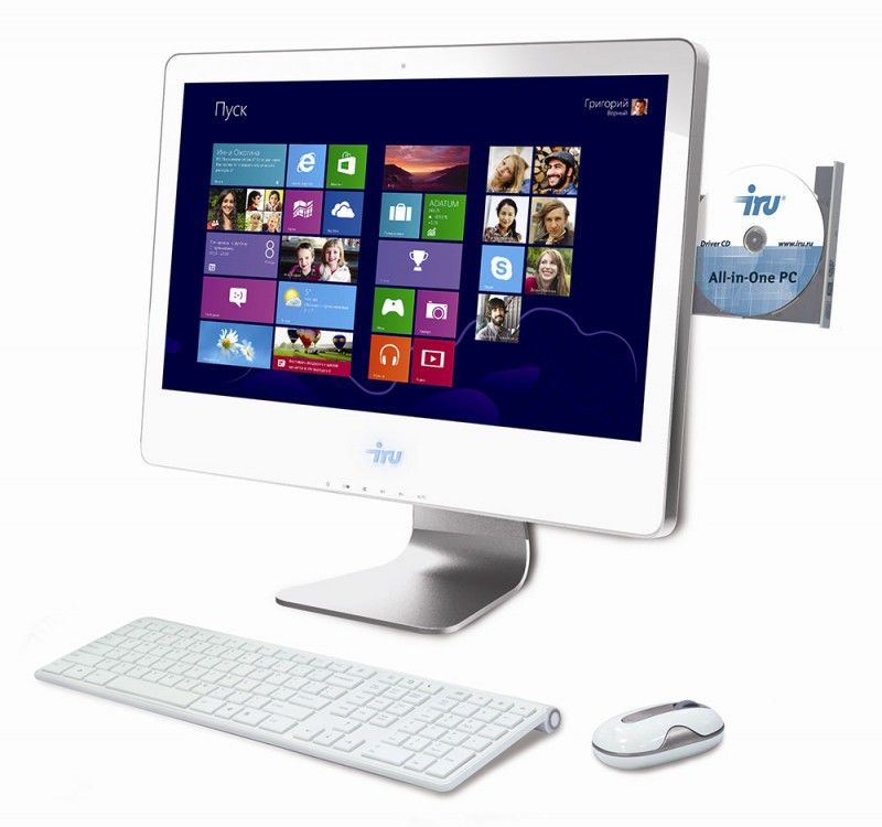 Моноблок IRU 308, Intel Pentium G2030, 4Гб, 500Гб, Intel HD Graphics, DVD-RW, Windows 8 Professional, белый
