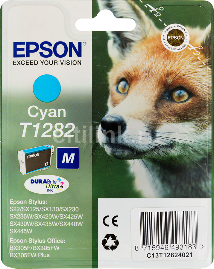Картридж EPSON T1282 голубой [c13t12824011]