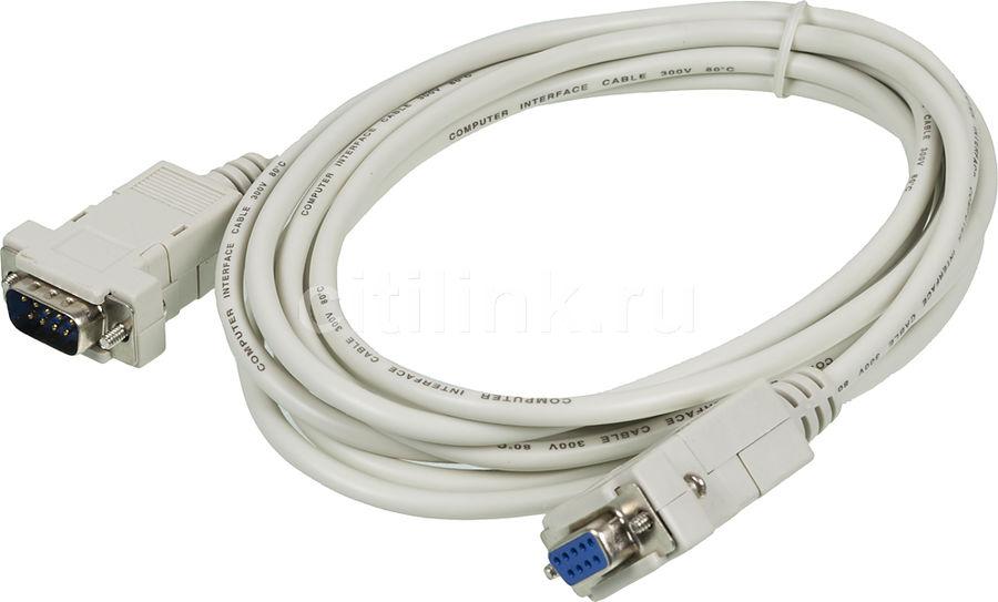 Кабель-удлинитель Serial 9 pin NINGBO COM 9-pin (m) -  COM 9-pin (f),  3м,  серый
