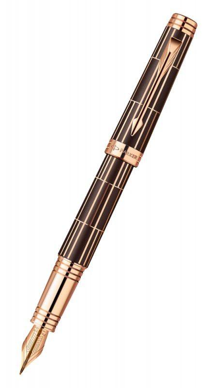Ручка перьевая Parker Premier Luxury F565 (1876376) Brown PG F золото 18K покрытое золотом розовым п