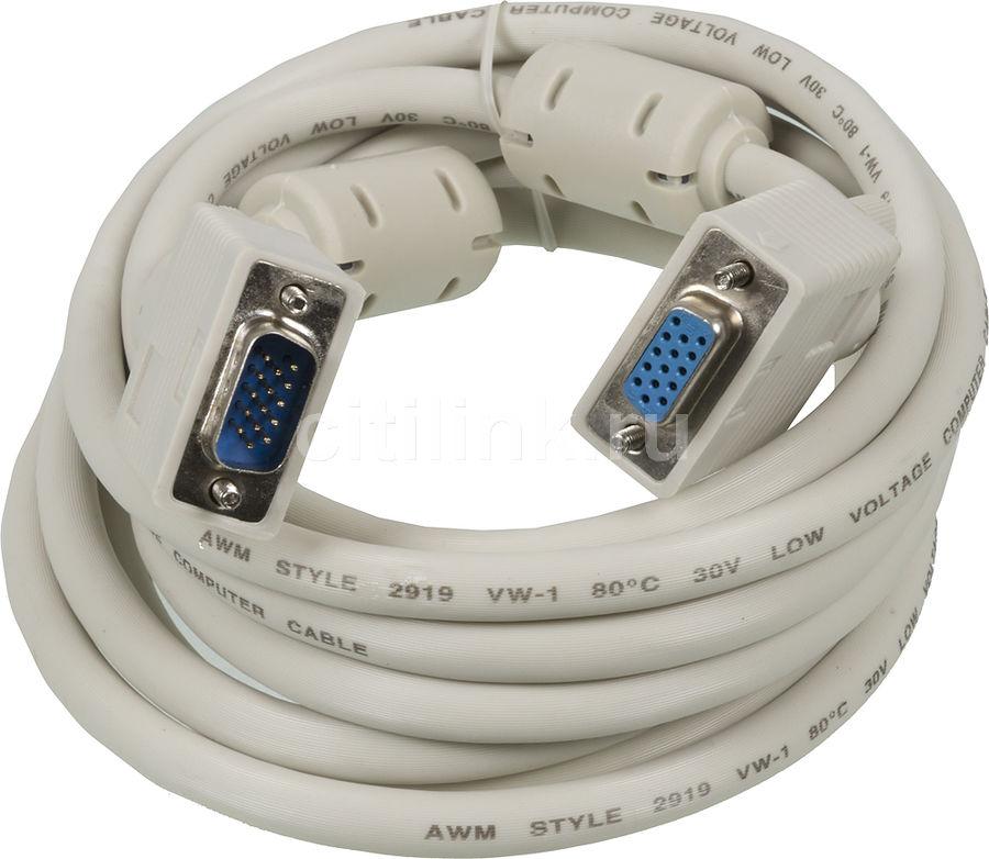 Кабель-удлинитель SVGA NINGBO CAB015S-10F,  VGA HD15 (m) -  VGA HD15 (f),  ферритовый фильтр ,  3м,  блистер,  серый