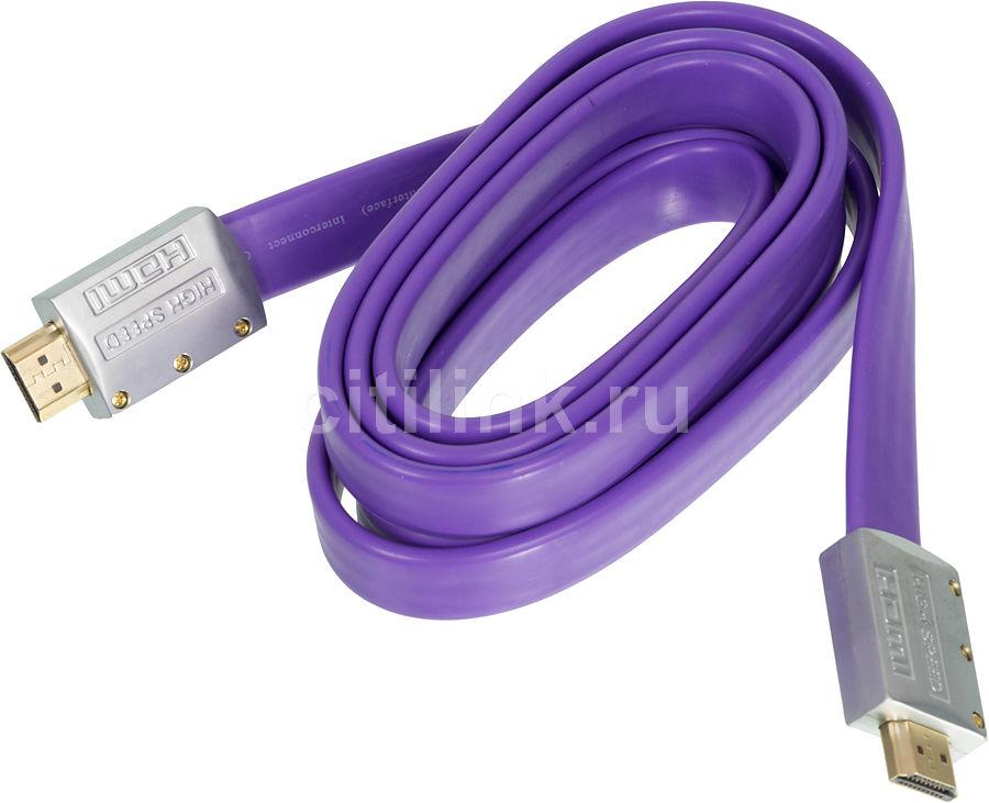 Кабель аудио-видео NINGBO HDMI (m)  -  HDMI (m) ,  ver 1.4, 1.8м, GOLD FLAT [hdmi-1.8m-mg(1.4)bl]
