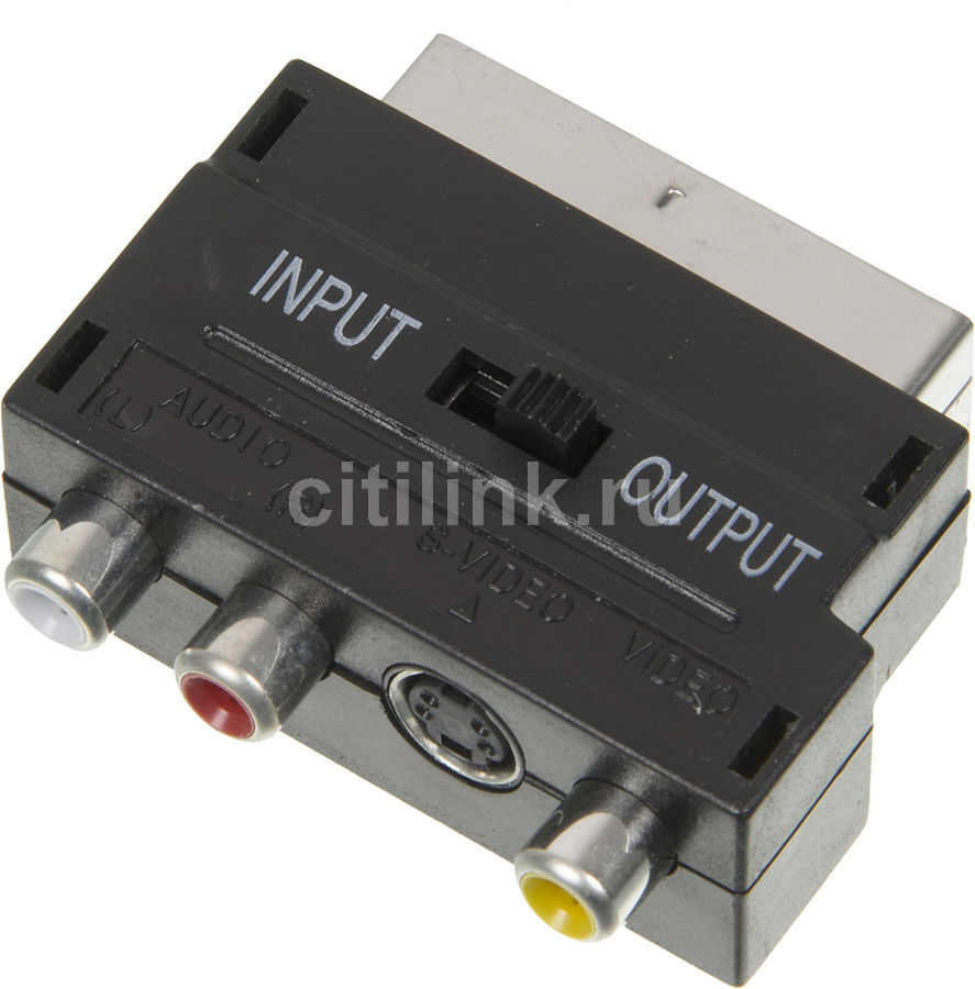 Адаптер аудио-видео NINGBO SCART (m)  -  3хRCA (f) ,  S-VIDEO (f),  черный [jsp005]