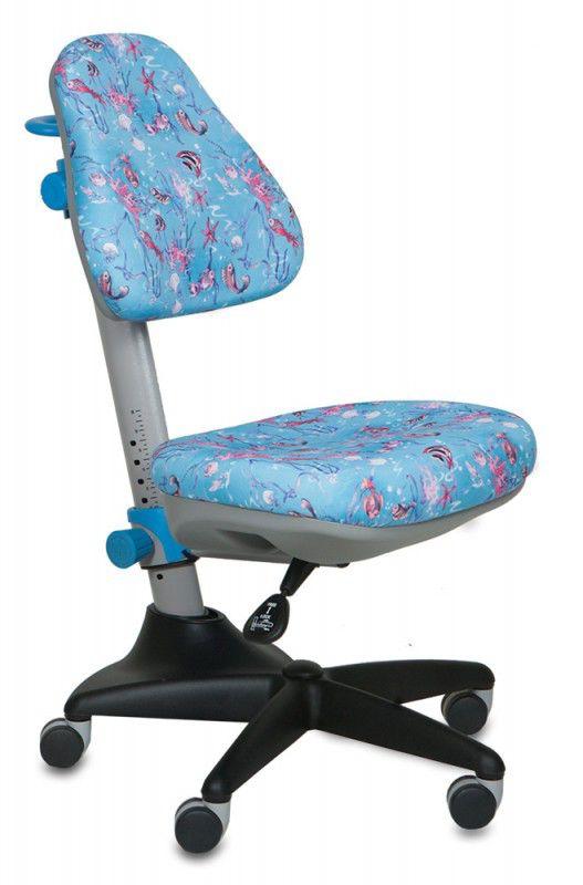 Кресло детское БЮРОКРАТ KD-2, на колесиках, ткань, голубой [kd-2/bl/aqua]