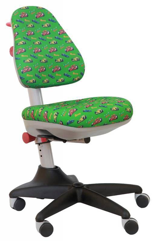 Кресло детское БЮРОКРАТ KD-2, на колесиках, ткань, зеленый/принт [kd-2/r/race-gr]