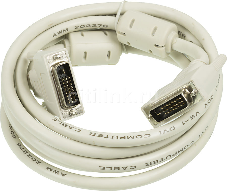 Кабель DVI NINGBO DVI-D Dual Link (m) - DVI-D Dual Link (m), ферритовый фильтр , 3м, блистер, серый [rd-dvi-3-br] 1m 1 8m 3m 5m digital monitor dvi d to dvi d gold male 24 1 pin dual link tv cable for tft monitor fw1s