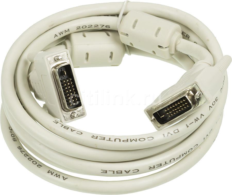 Кабель DVI NINGBO DVI-D Dual Link (m) -  DVI-D Dual Link (m),  ферритовый фильтр ,  3м,  блистер,  серый [rd-dvi-3-br]
