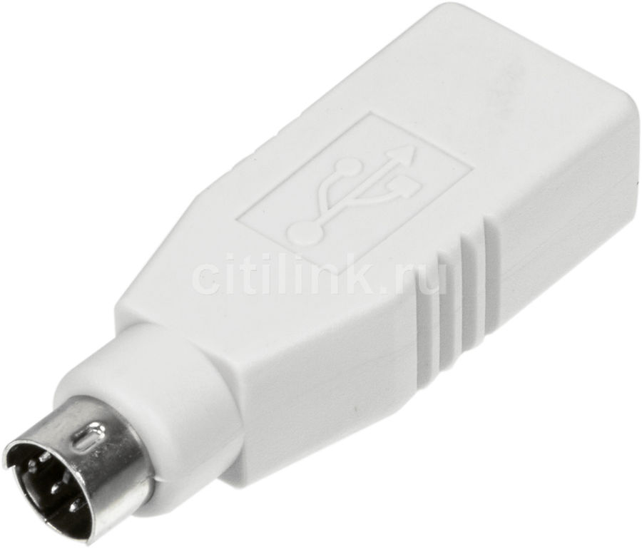 Переходник PS/2 NINGBO MD6M,  PS/2 (m) -  USB A(f),  серый [usb013a]
