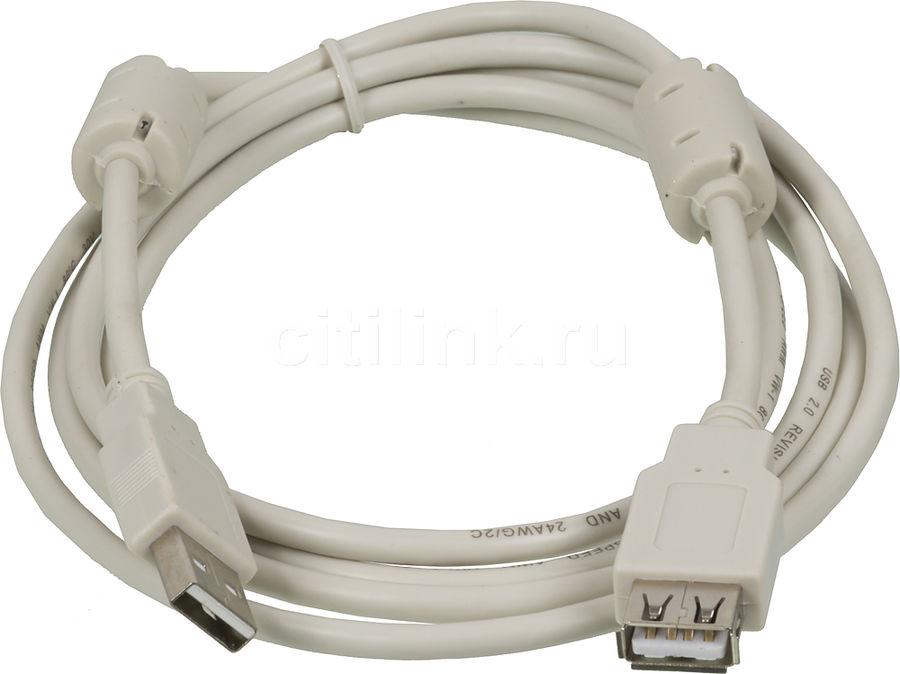 Кабель-удлинитель USB2.0 NINGBO USB A(m) -  USB A(f),  ферритовый фильтр ,  1.8м [usb2.0-am/af-1.8m-mg]