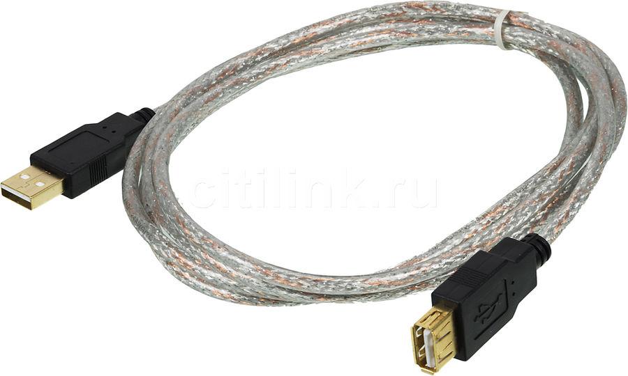 Кабель-удлинитель USB2.0 NINGBO USB A(m) -  USB A(f),  GOLD ,  1.8м,  прозрачный