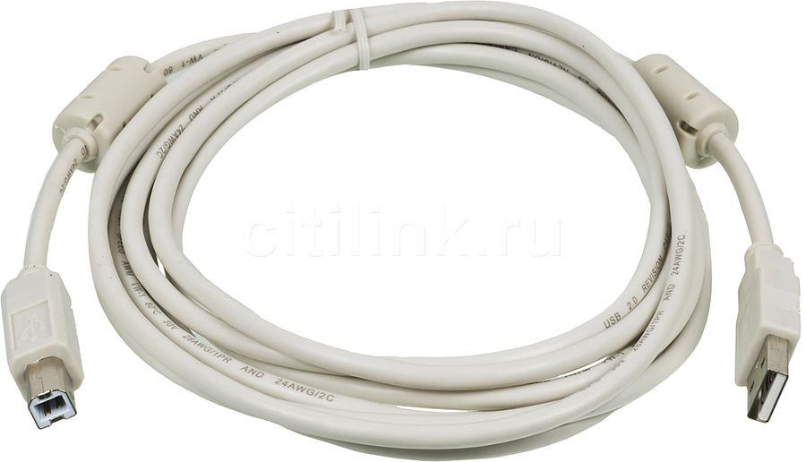 Кабель USB2.0 NINGBO USB A (m) -  USB B (m),  ферритовый фильтр ,  3м,  серый [usb2.0-am/bm-3m-mg]