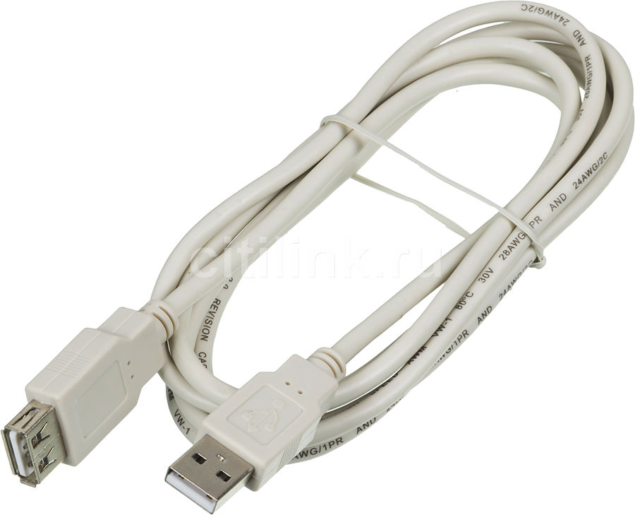 Кабель-удлинитель USB2.0 NINGBO USB A (m) -  USB A (f),  1.8м,  блистер [usb2.0-am-af-br]