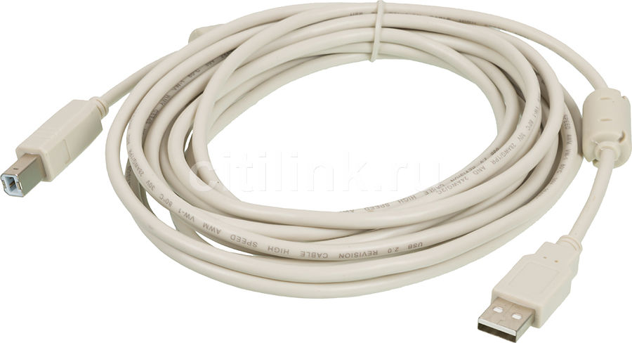Кабель USB2.0 NINGBO USB A (m) -  USB B (m),  ферритовый фильтр ,  5м,  серый