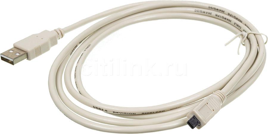 Кабель USB2.0 NINGBO USB A (m) -  miniUSB B 4-pin (m),  1.8м,  серый