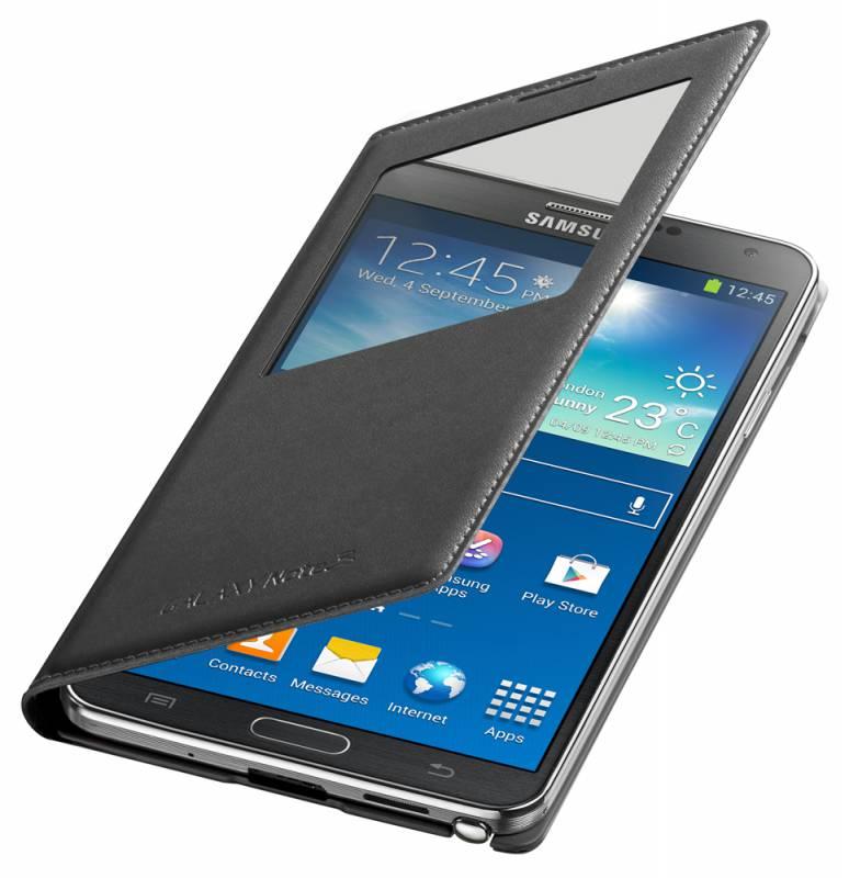 Чехол (флип-кейс) SAMSUNG S View (EF-CN900BBEGRU), для Samsung Galaxy Note 3, черный