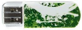 Флешка USB VERBATIM Store n Go Mini Graffiti 8Гб, USB2.0, зеленый и рисунок [98163]