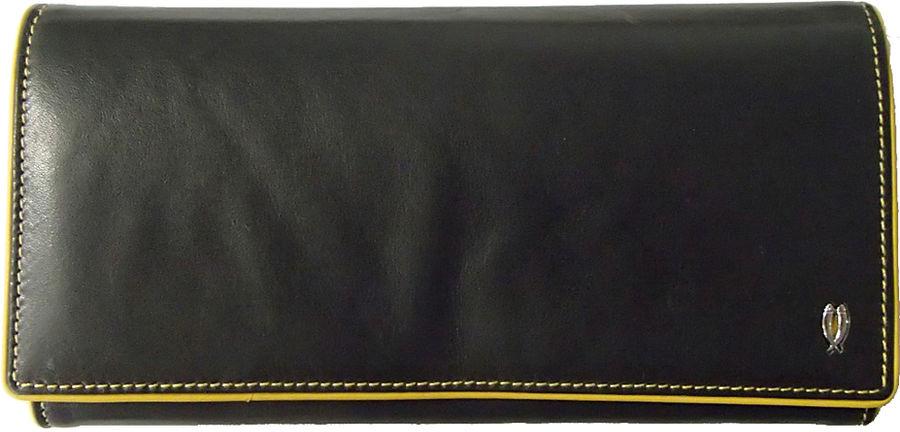 Кошелек Tuscans 12x9.5см черный с желтым натур кожа (TS-939-092)