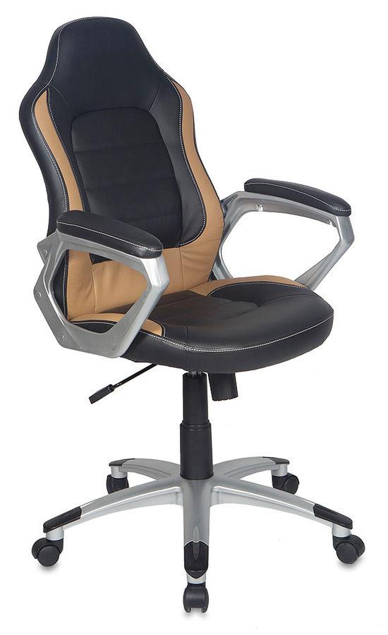 Кресло руководителя БЮРОКРАТ CH-825S, на колесиках, искусственная кожа, черный/бежевый [ch-825s/black+bg]