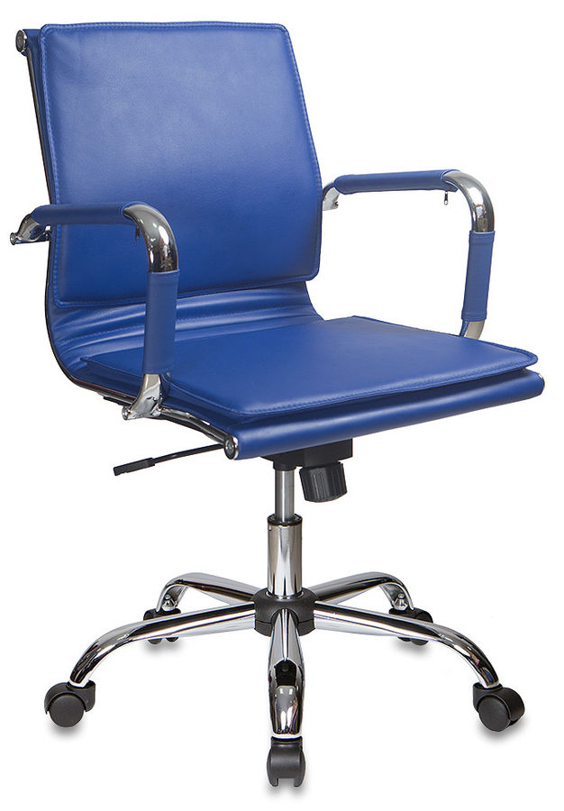 Кресло руководителя БЮРОКРАТ CH-993-Low, на колесиках, искусственная кожа, синий [ch-993-low/blue]