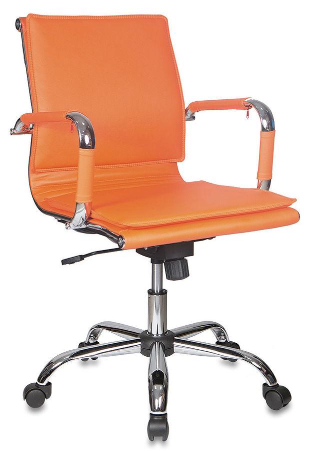 Кресло руководителя БЮРОКРАТ CH-993-Low, на колесиках, искусственная кожа, оранжевый [ch-993-low/orange]