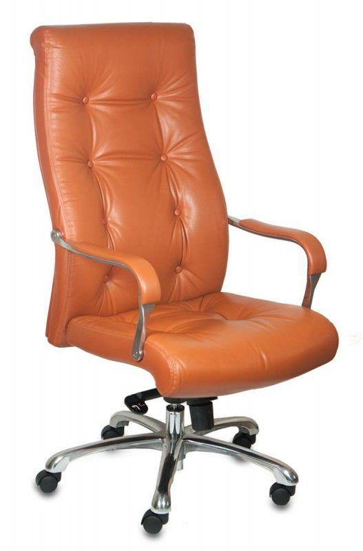 Кресло руководителя БЮРОКРАТ _Boss, на колесиках, кожа, рыжий [_boss/pecan]
