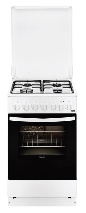 Газовая плита ZANUSSI ZCK955201W,  электрическая духовка,  белый