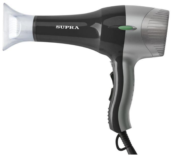 Фен SUPRA PHS-2000PRO, 2000Вт, черный и серебристый