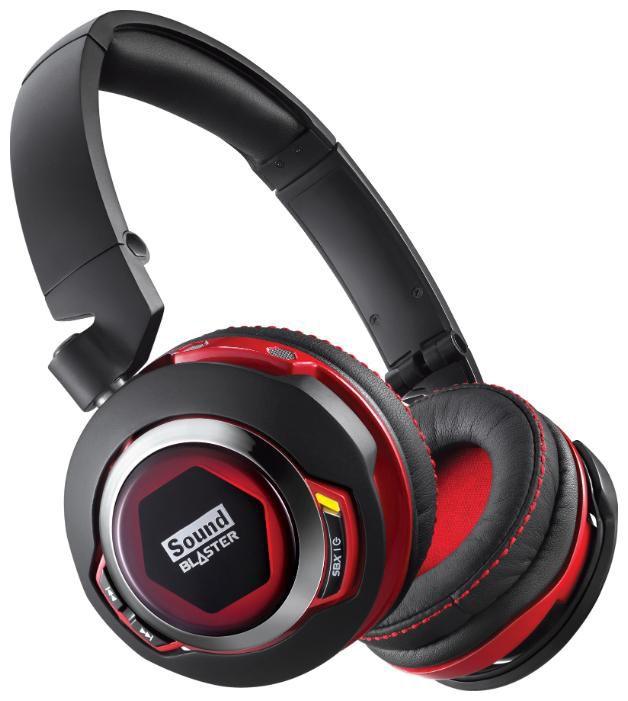 Наушники с микрофоном CREATIVE Sound Blaster EVO Zx,  70GH028000001,  мониторы, bluetooth,  черный  / красный